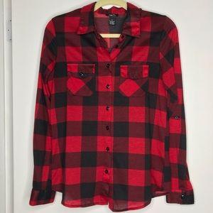 Rue 21 Red & Black Flannel Print Shirt Size Medium